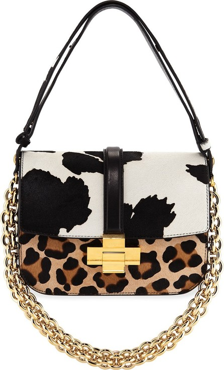 Nº21 Mixed Animal-Print Fur Shoulder Bag
