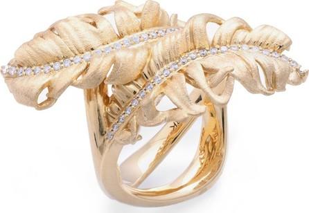 Adam Foster Fine Jewelry 18k Diamond 2-Feather Ring, Size 7