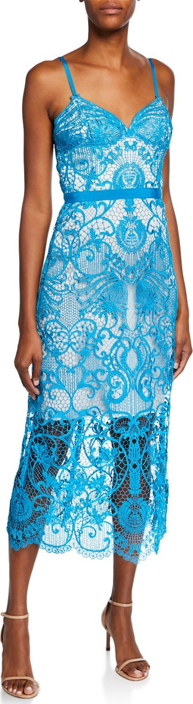 Catherine Deane Mimosa Sleeveless Graphic Lace Cocktail Dress