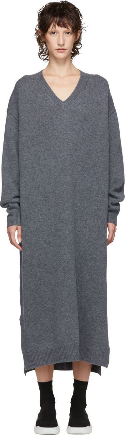 Enfold Grey Wool V-Neck Dress