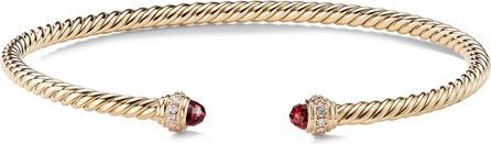 David Yurman 'Cable Spira' diamond garnet 18k gold bracelet