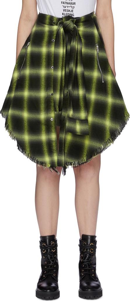Amiri Sleeve tie waist check plaid skirt