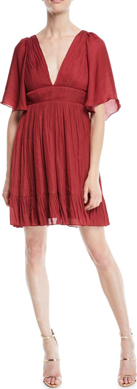 HALSTON HERITAGE Flowy Mini Dress w/ Capelet & Pleating