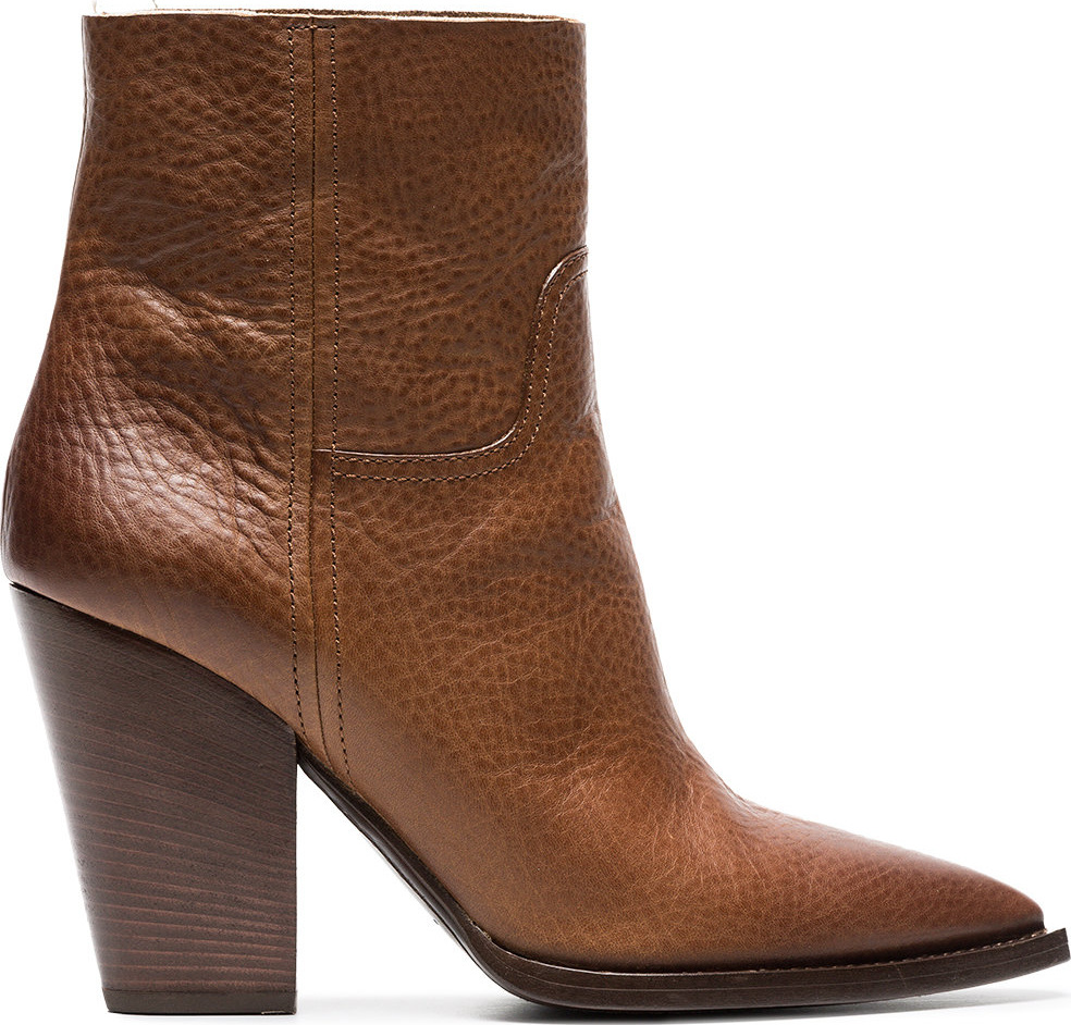 Saint Laurent - Brown Theo 95 leather cowboy boots