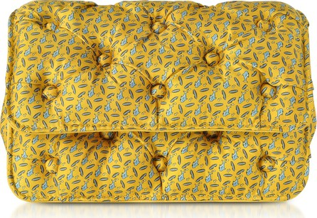 Benedetta Bruzziches Sharks Printed Yellow Satin Silk Carmen Clutch w/ Golden Hand