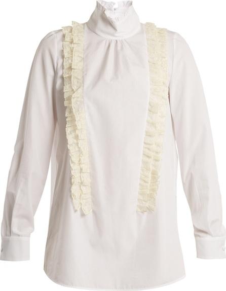 Nº21 Ruffle-trimmed high-neck cotton-poplin blouse