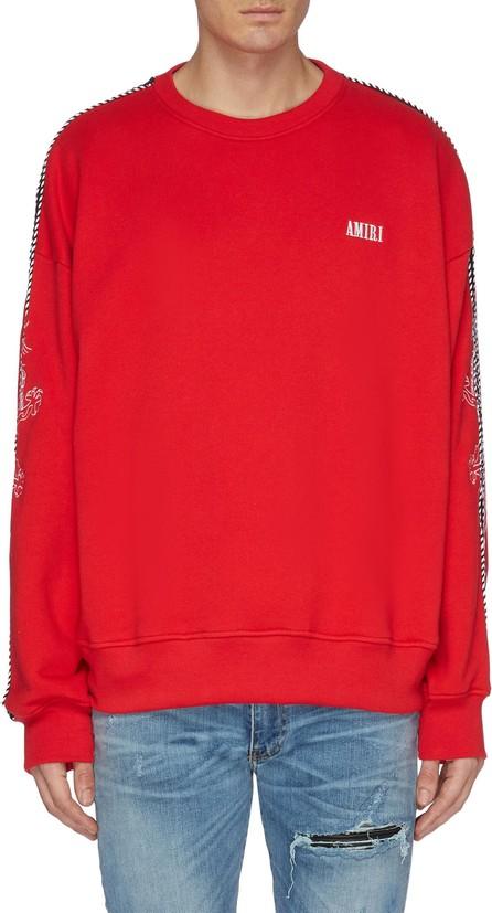 Amiri Dragon graphic embroidered stripe sleeve sweatshirt