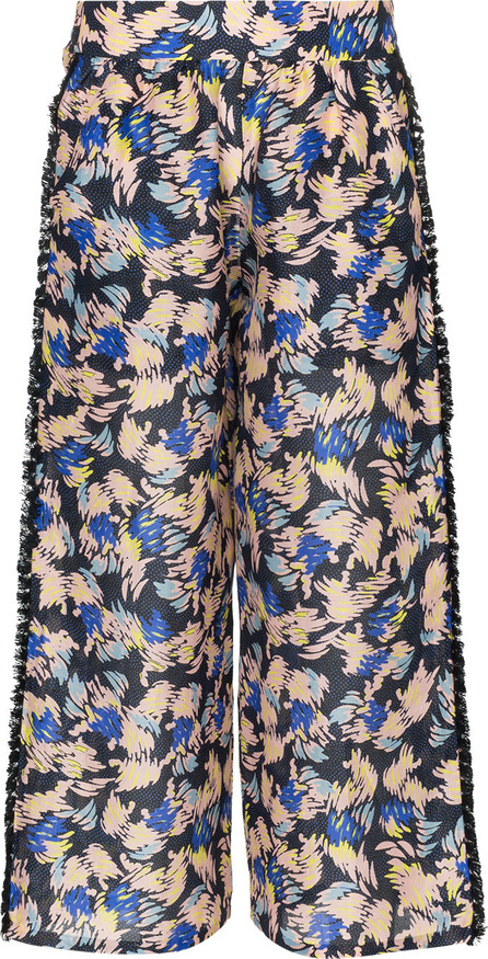 A Peace Treaty Yuna print silk linen-blend cropped trousers