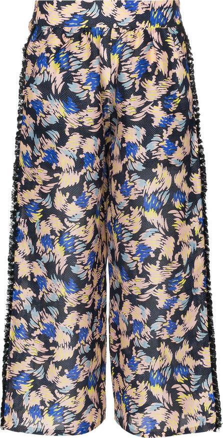 A Peace Treaty Yuna print silk linen-blend cropped trousers