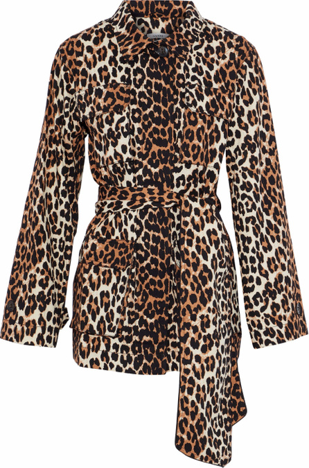 Ganni Leopard-print cotton-twill jacket