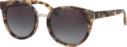 Tory Burch Gradient Round Sunglasses, White Tortoise