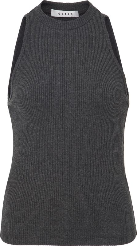 GETTING BACK TO SQUARE ONE Ribbed-Knit Sleeveless Top