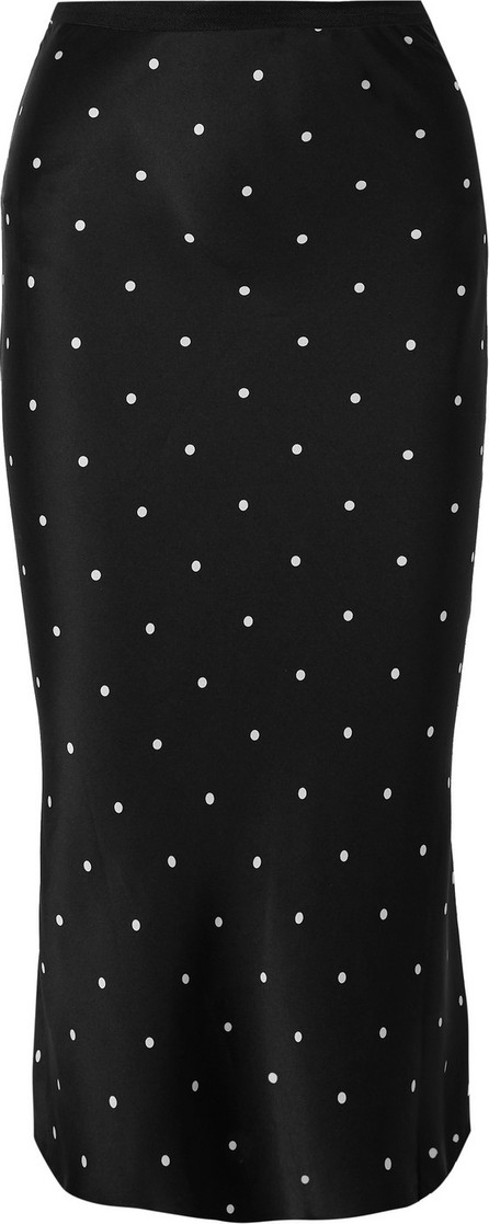 ANINE BING Bar polka-dot silk-charmeuse midi skirt