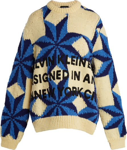 Calvin Klein 205W39NYC Embroidered intarsia-knit wool sweater