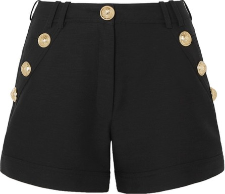 Balmain Button-embellished cotton-faille shorts