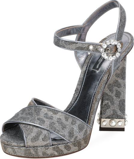 Dolce & Gabbana Glitter Leopard Platform Sandal
