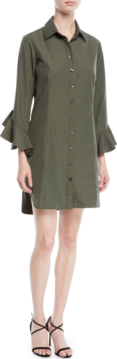 Finley Carmella Ruffle-Sleeve Button-Front Short Shirtdress