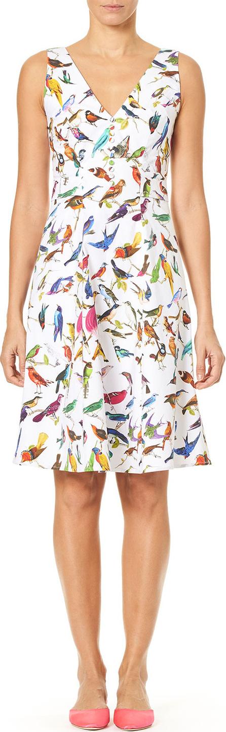 Carolina Herrera V-Neck A-Line Bird-Print Dress