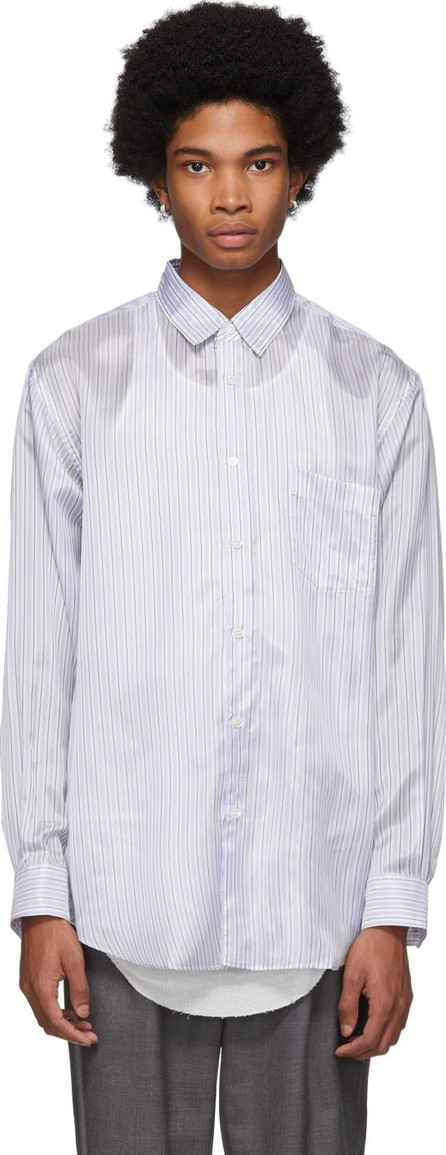 Comme Des Garcons White & Blue Striped Lining Forever Shirt