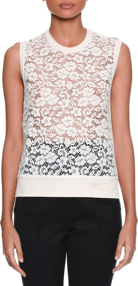 Dolce & Gabbana Sleeveless Rose-Lace Front Knit Shell Top