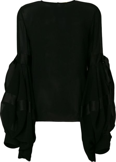 Saint Laurent semi-sheer oversized sleeves blouse