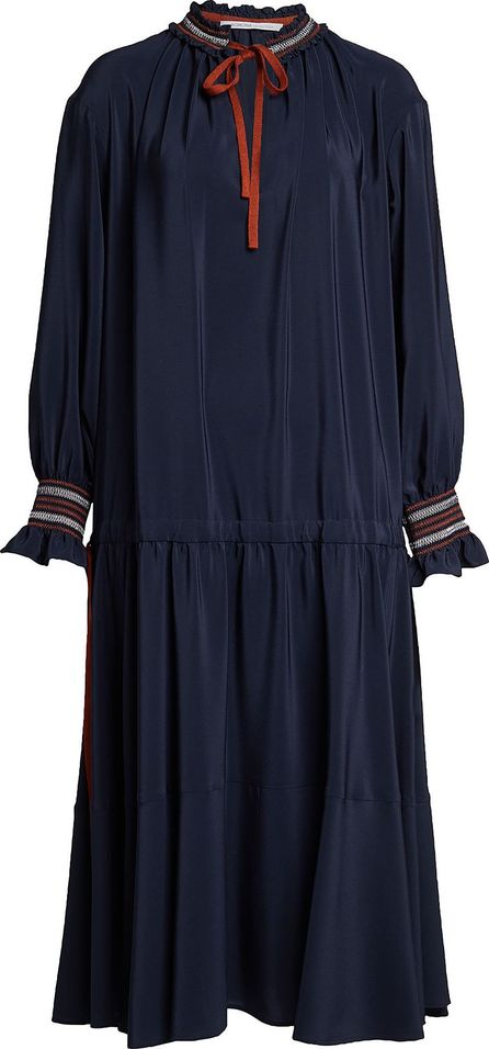 Agnona Silk Dress with Tie at Neck