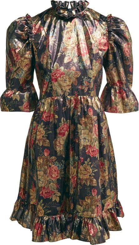 Batsheva Ruffle-trimmed floral lamé dress
