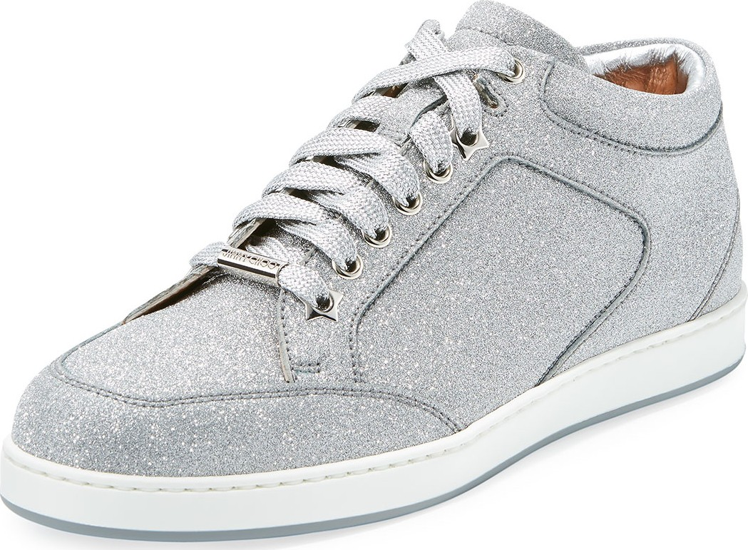 af9a167528a2 Jimmy Choo Miami Glitter Leather Low-Top Sneakers.  625  468. Neiman Marcus