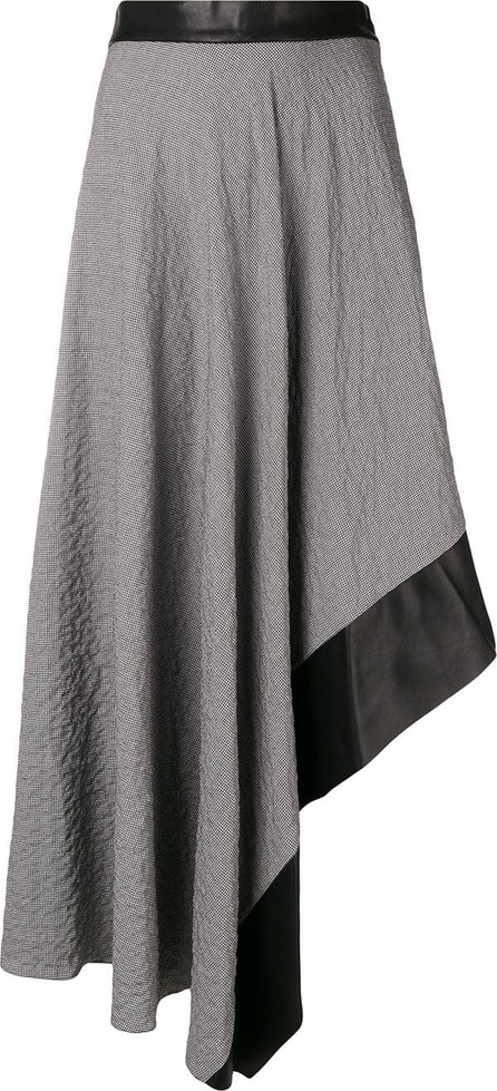 LOEWE Crinkled houndstooth jacquard asymmetric skirt
