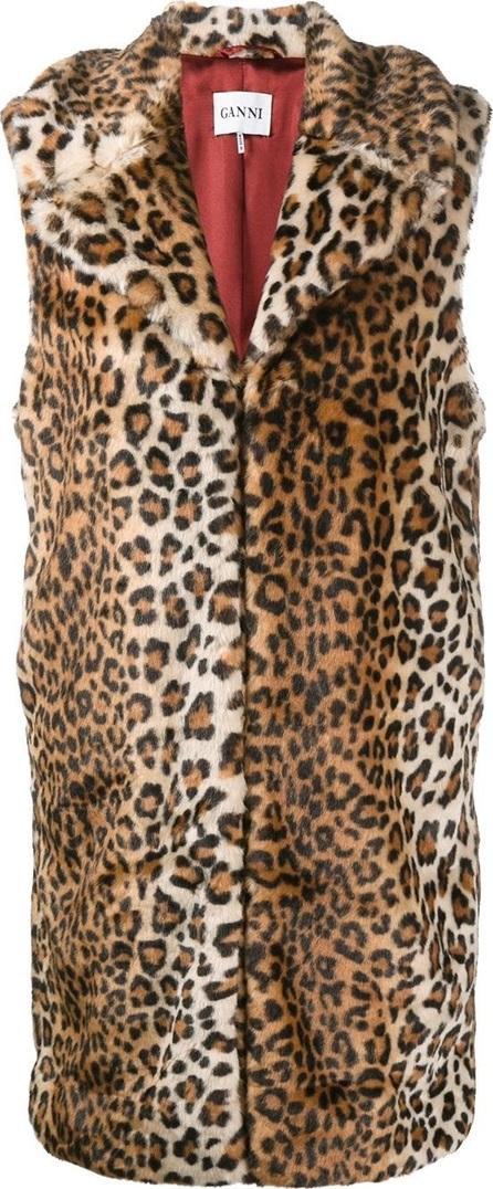 Ganni sleeveless faux fur coat