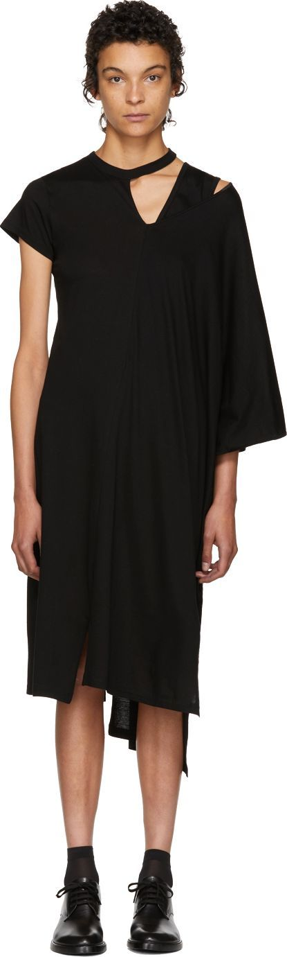 FACETASM Black Asymmetric Mantle T-Shirt Dress