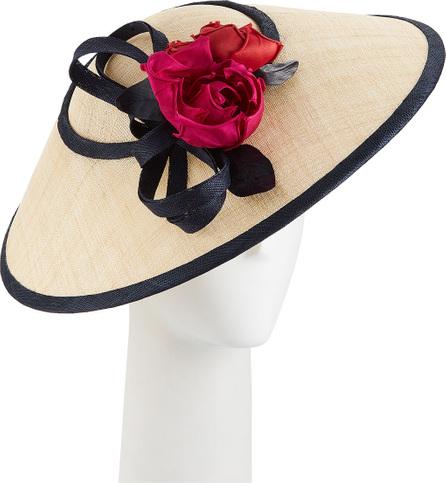 Rachel Trevor Morgan Two-Tone Straw Perching Hat w/ Rosettes