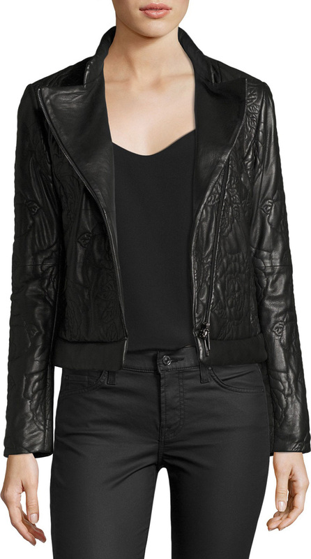 Armani Jeans Floral-Quilted Leather Moto Jacket, Black