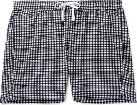 Onia Charles Slim-Fit Mid-Length Checked Seersucker Swim Shorts