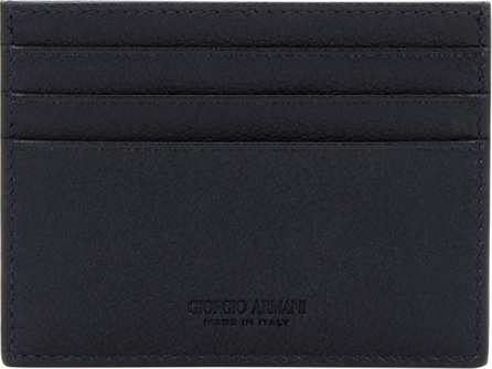 Giorgio Armani Tumbled Leather Credit Card Holder, Navy