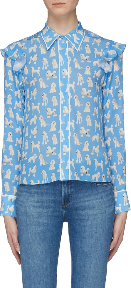 Alice + Olivia 'Zimmer' ruffle trim poodle print silk blouse