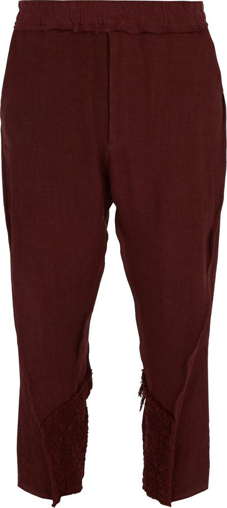 By Walid Hiro crochet-trim linen trousers