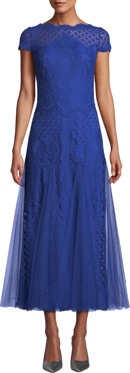 Tadashi Shoji Roone Tea-Length Dress w/ Tulle Skirt