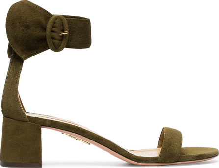 Aquazzura Moss green palace 50 suede leather sandals