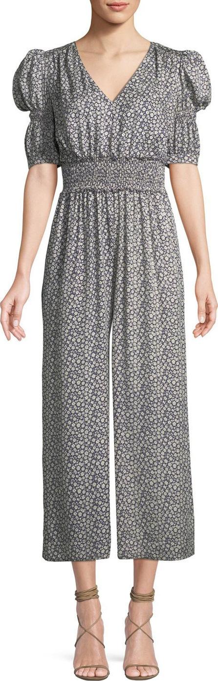 Rebecca Taylor Lauren Puff-Sleeve Silk Floral Jumpsuit