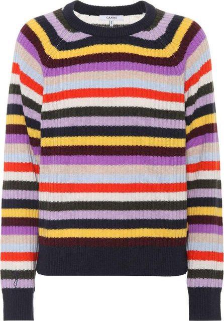 Ganni Mercer striped wool-blend sweater