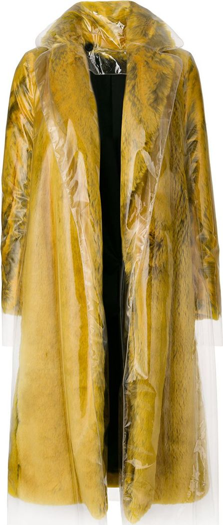 Calvin Klein 205W39NYC transparent overlay faux fur coat