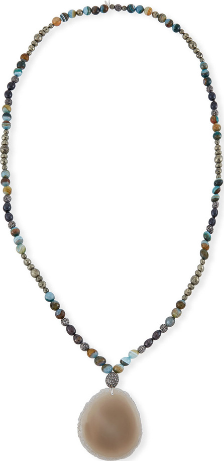 Hipchik Couture Indie Beaded Labradorite, Pyrite & Pearl Necklace