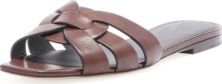 Saint Laurent Tribute Flat Leather Slide Sandal