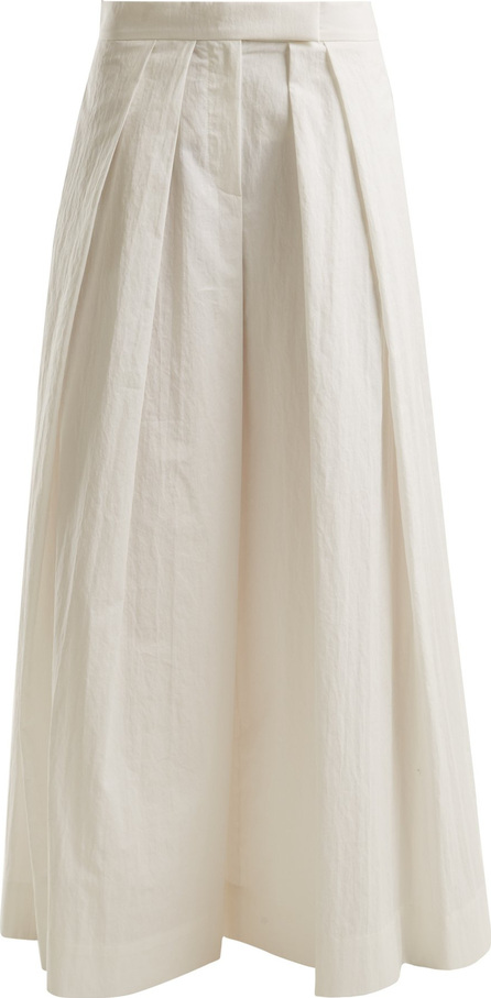Brunello Cucinelli Pleated wide-leg cotton-blend trousers