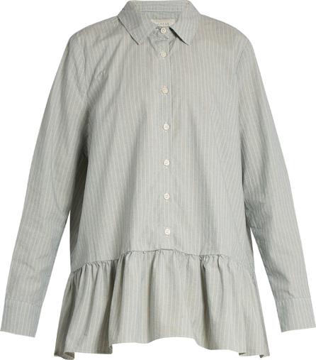 THE GREAT. Striped ruffle cotton-poplin shirt