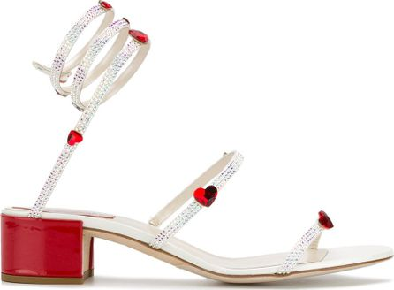 Rene Caovilla Crystal and heart embellished sandals