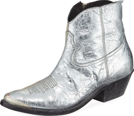 Golden Goose Deluxe Brand Young Metallic Crackled Western Bootie
