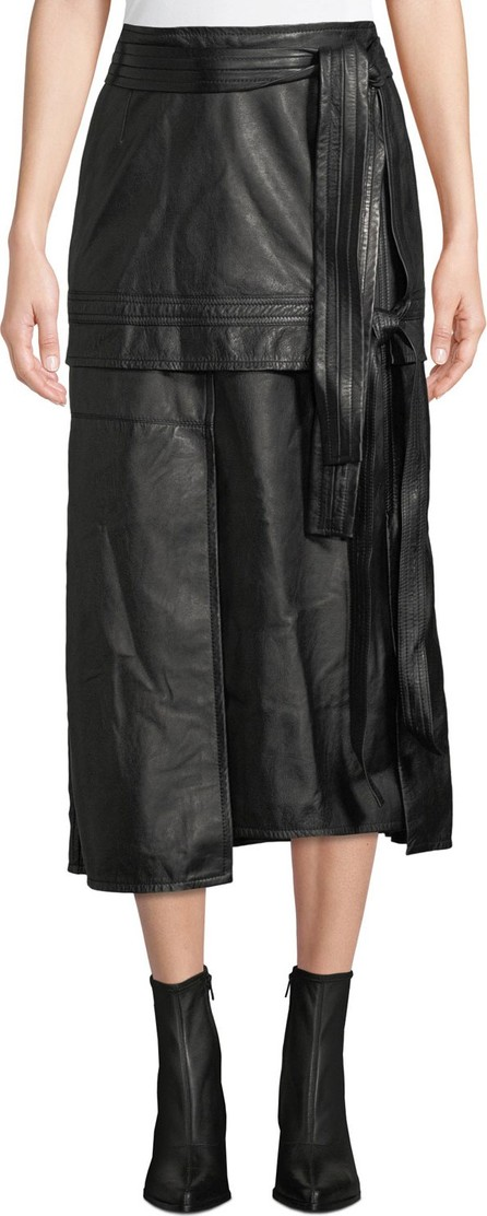 3.1 Phillip Lim Leather Patchwork Skirt with Front TIe