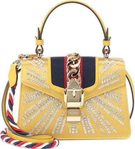 Gucci Sylvie Mini embellished satin shoulder bag